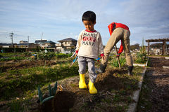 Farmers working. In rural areas in Japan Stock Photography