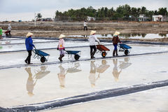 Farmers working on salt field Royalty Free Stock Images