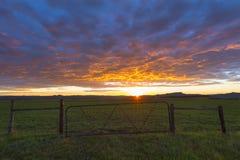 Farmgate przy wschodem słońca Zdjęcia Royalty Free