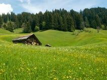 Farmhouse in alpine hills Stock Photos