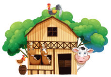A farmhouse with animals. Illustration of a farmhouse with animals on a white background Royalty Free Stock Photo