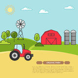 Farmhouse banner for agricultural products advertise Flat linear vector. Farmhouse horizontal banner. Farm landscape with barn, tractor, fields. Concept for Stock Photos