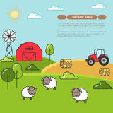 Farmhouse banner for agricultural products advertise Flat linear vector. Farmhouse horizontal banner. Farm landscape with barn, tractor, sheeps. Concept for Royalty Free Stock Photo
