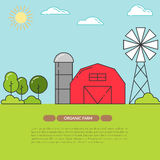 Farmhouse banner for agricultural products advertise Flat linear vector. Farmhouse horizontal banner. Farm landscape with barn, windmill. Concept for farmer vector illustration