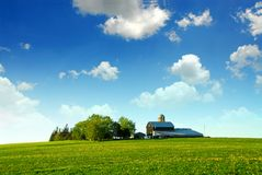 Farmhouse and barn. Among green fields Royalty Free Stock Photo