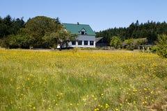 Farmhouse, Barn, And Field Stock Photography
