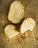 Farmhouse bread and crumbs Royalty Free Stock Image