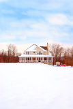 Farmhouse in the Country in Winter Stock Images