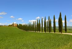 Farmhouse and cypresses in Tuscany Stock Photo