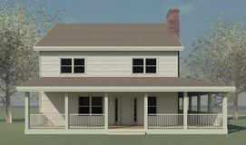 Farmhouse Elevation with Trees Stock Photos