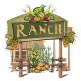 Farmhouse, entrance on a ranch with rich harvest Stock Photo