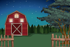 Farmhouse on the farm at nighttime. Illustration Royalty Free Stock Image
