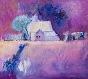 Farmhouse on farmland painting in oils. By Kay Gale Stock Photography