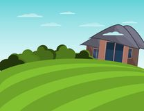 Farmhouse and field. Peaceful landscape. Flat illustration. Farmhouse and field. Peaceful landscape. Flat vector illustration Royalty Free Stock Image