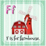 Farmhouse. Flashcard letter F is for farmhouse Stock Image