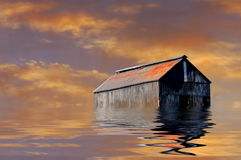 Farmhouse in flooded Iowa Stock Images
