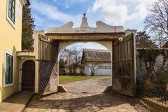 Farmhouse gate. View historic farmhouse gate in Bohemia Royalty Free Stock Photo