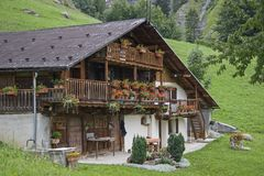 Farmhouse in the Hautes Alpes in Savoy. A traditional style farmhouse built in the Hautes Alpes in Savoy Royalty Free Stock Photography