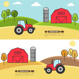 Farmhouse horizontal banner for agricultural products advertise Flat linear vector. Farmhouse horizontal banner. Farm landscape with barn, tractor, fields Royalty Free Stock Photography