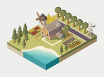 Farmhouse Isometric Illustration. Farmhouse with track windmill garden beds and trees stacks of hay lake and road isometric vector illustration Royalty Free Stock Images
