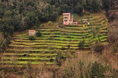 Farmhouse in Italy. Farmhouse on hill in Italy with farmers working the land Royalty Free Stock Photos