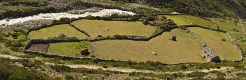 Farmhouse, Khumbu Valley, Nepal. Aerial view over farmhouse and animal paddock in Khumbu Valley, Nepal on sunny day Royalty Free Stock Images