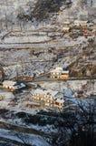 Farmhouse mountains. Shennongjia mountains luxuriant mountain forest winter snow season is fascinating Stock Photos