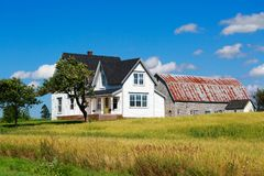 Farmhouse. Old traditional style farmhouse with a nearby barn Royalty Free Stock Photos