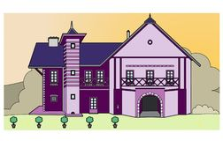 Farmhouse purple. Vector illustration of a  farmhouse, file EPS 8 Stock Images