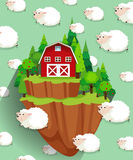 Farmhouse and sheep flying in the sky Royalty Free Stock Images