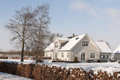 Farmhouse in the Snow Royalty Free Stock Image