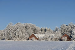 Farmhouse in the Snow Royalty Free Stock Images