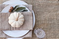 Farmhouse Style Above Autumn Place Setting. Thanksgiving Day or Halloween place setting with mini white pumpkins, Lamb`s Ears leaves, and acorns over burlap royalty free stock images
