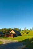Farmhouse at sunset royalty free stock image