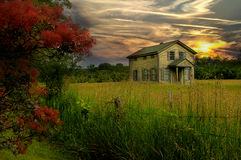 Farmhouse Sunset Stock Image