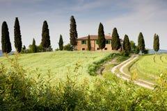 Farmhouse in Tuscany. Idyllic farmhouse in morning´s light. Near Pienza, Tuscany, Italy Royalty Free Stock Photos