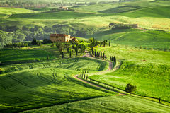 Farmhouse in Tuscany located on a hill Royalty Free Stock Images