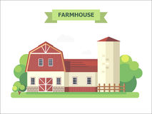 Farmhouse. Warehouse. Flat elements for the construction of urban and village landscapes. Vector flat illustration Stock Images