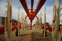 Farming. New equipment waiting for sale Royalty Free Stock Photography