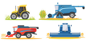 Farming agricultural machines and farm vehicles set. Farming machine harvester, combine and tractor Royalty Free Stock Photo