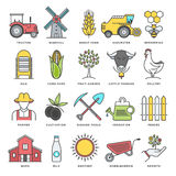 Farming and Agriculture Flat Line Icon Set Royalty Free Stock Photo