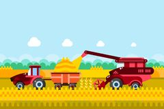 Farming and agriculture harvesting concept. Vector illustration of combine and tractor on wheat or corn cereal field. Farming and agriculture harvesting concept vector illustration
