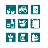Farming and Agriculture Icons Stock Photo