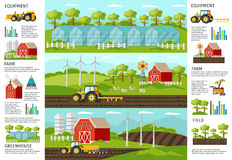 Farming And Agriculture Infographic Banners royalty free illustration