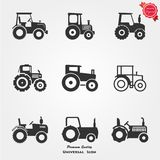 Tractor icons. Farming and agriculture life concept. Harvester trucks, tractors, farmers and village farm buildings. Thin black line art icons. Linear style Stock Photos