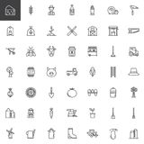 Farming and agriculture line icons set. Outline vector symbol collection, linear style pictogram pack. Signs, logo illustration. Set includes icons as Royalty Free Stock Photos