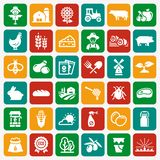 Farming and agriculture vector flat icons. stock illustration