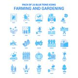 Farming And Gardening Blue Tone Icon Pack - 25 Icon Sets Stock Image