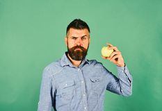 Farming and autumn products concept. Farmer with confused face. Holds fresh apple. Guy presents homegrown harvest. Man with beard holds green fruit isolated on royalty free stock photo