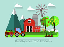 Farming background with barn stock illustration